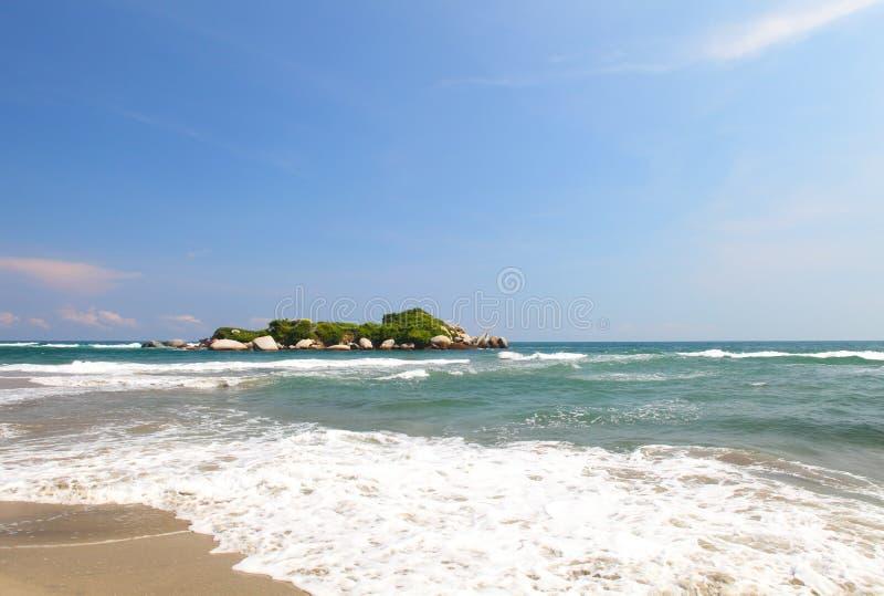Het Strand van Arrecifes, Tayrona nationaal park, Colombia stock foto's