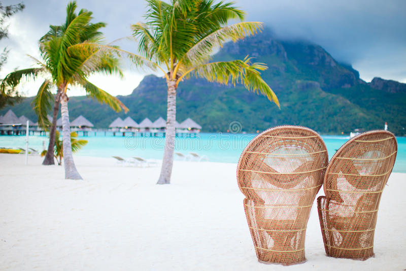 Het strand van Bora van Bora stock afbeelding