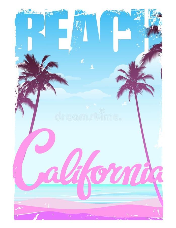 Het strand van Californië, het van letters voorzien, drukontwerp vector illustratie