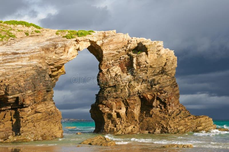 Het strand van Catedrales van Las, Ribadeo, Spanje. stock foto