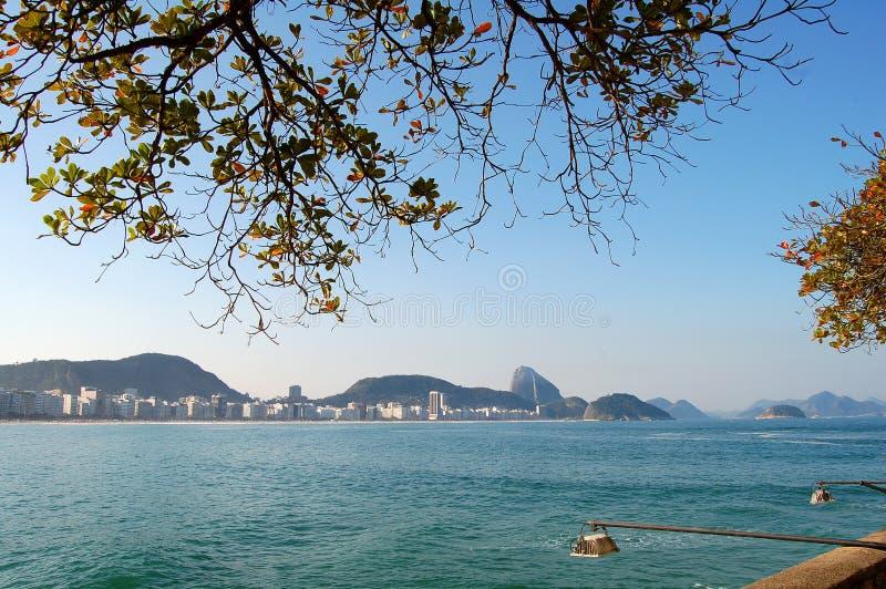 Het strand van Copacabana en suikerbrood stock afbeelding