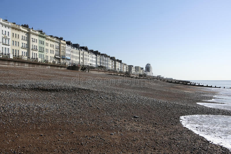 Het strand van de architectuurhastings van het regentaat stock afbeelding