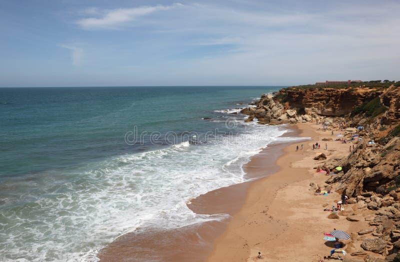 Het strand van de Atlantische Oceaan, Spanje royalty-vrije stock foto's