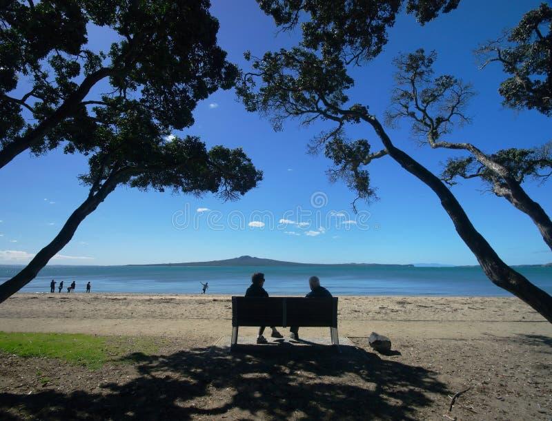 Het Strand van de Baai van de opdracht stock foto