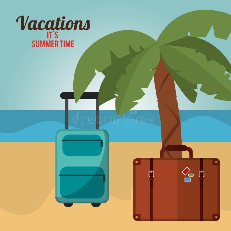 het strand van de de tijdpalm van de vakantieszomer bagagge stock illustratie