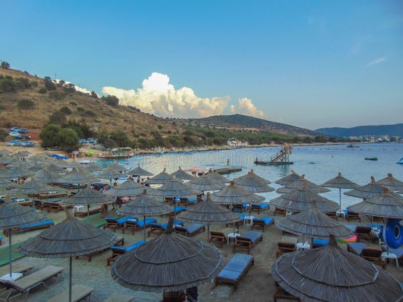 Het Strand van de Kaartenbaai, Albani? stock afbeeldingen