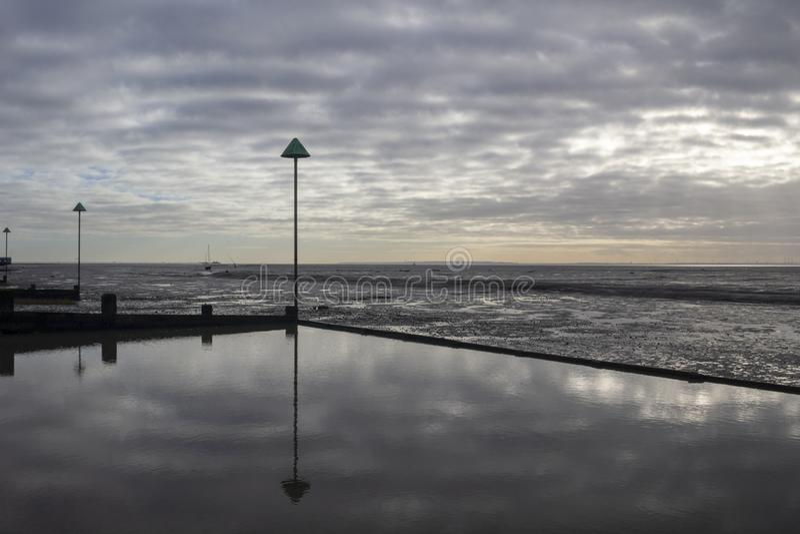 Het Strand van de klokwerf bij Leigh-op-Overzees, Essex, Engeland stock foto