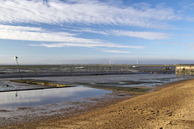 Het Strand van de klokwerf bij Leigh-op-Overzees, Essex, Engeland stock afbeeldingen