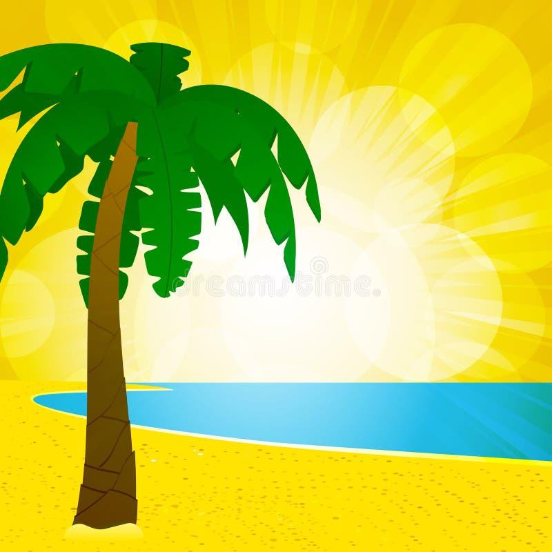 Het strand van de palm en gloeiende achtergrond royalty-vrije illustratie