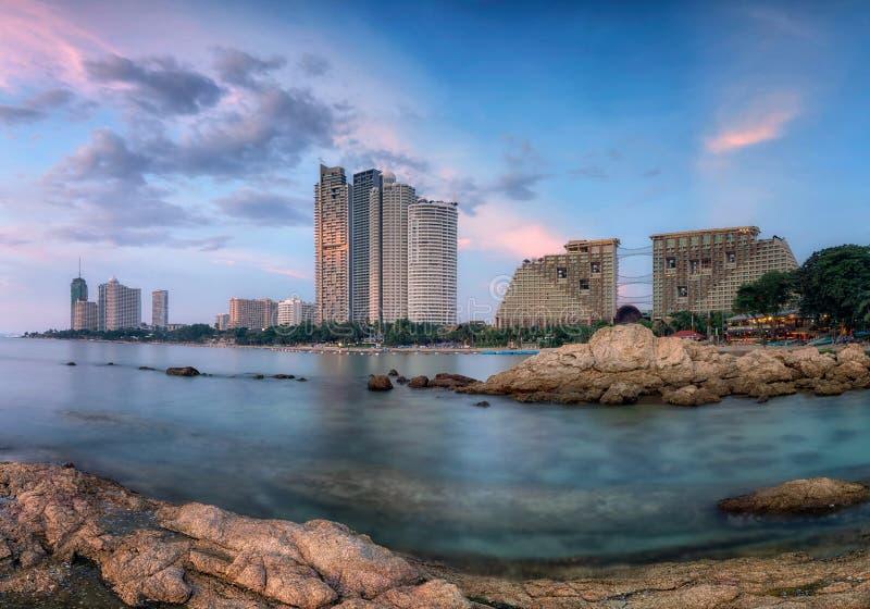 Het strand van de Pattayastad stock foto