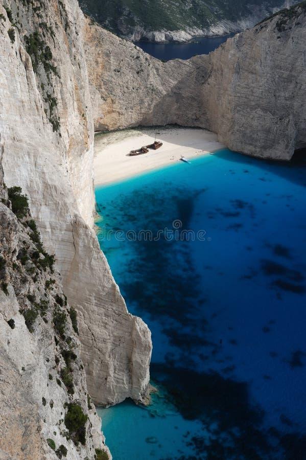 Het strand van de Schipbreuk, Eiland Zakynthos, Griekenland royalty-vrije stock fotografie