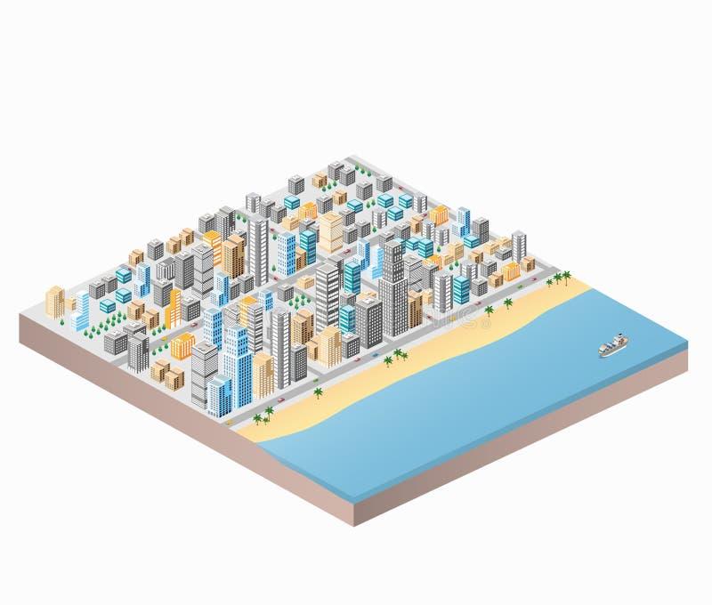 Het strand van de stad vector illustratie