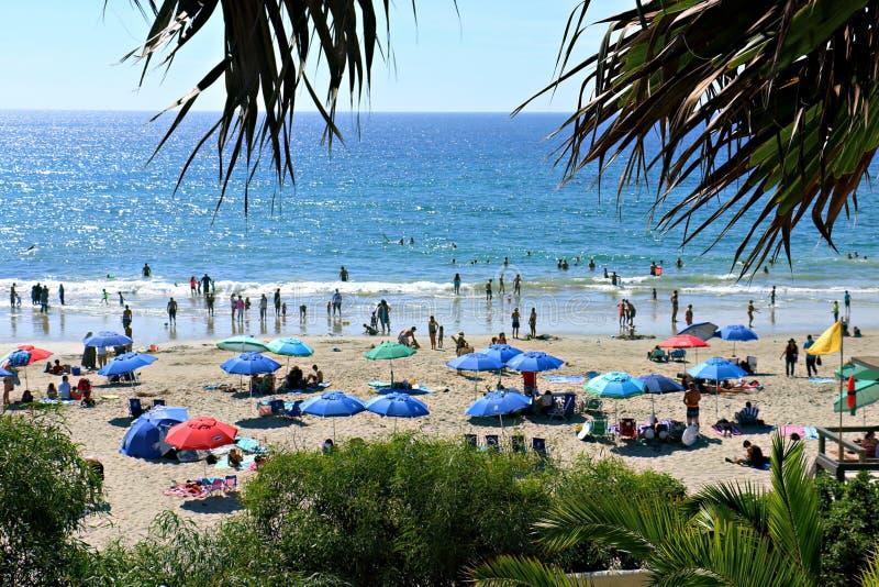 Het Strand van de zandkreek met vele Mensen en Paraplu's stock foto