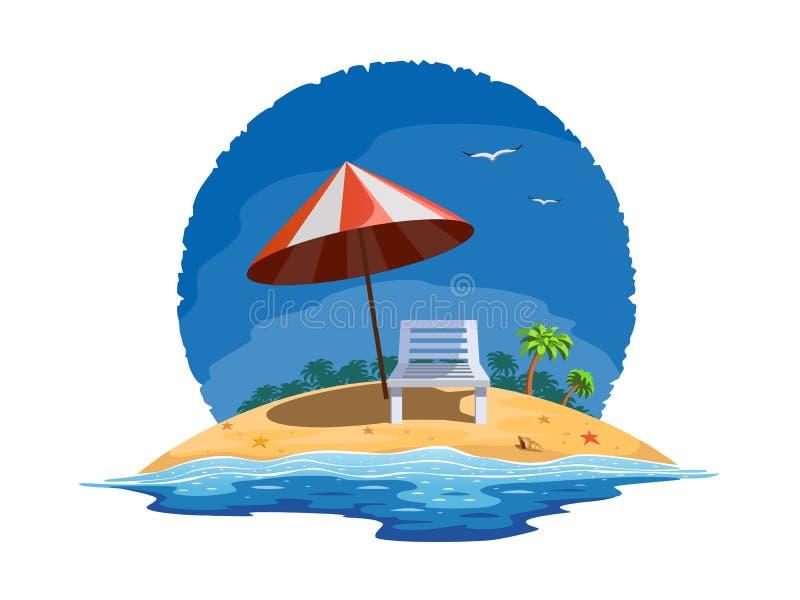 Het strand van de zomer vector illustratie