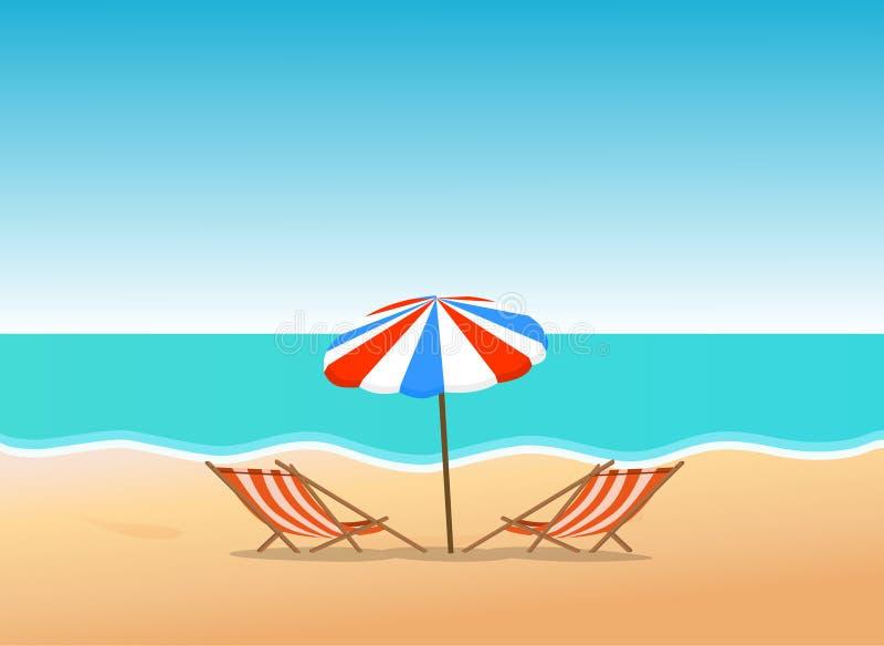Het strand van de zomer stock illustratie