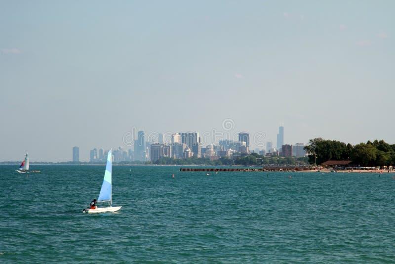 Het strand van de zomer in Chicago royalty-vrije stock fotografie