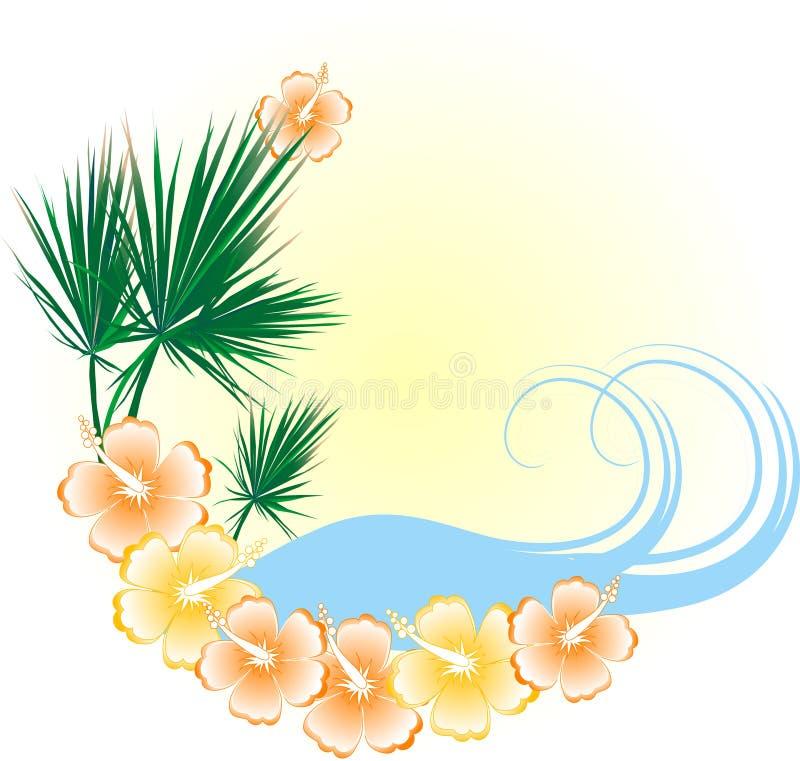 Het strand van de zomer in frame vector illustratie