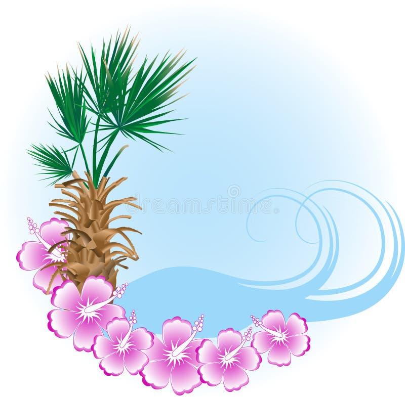 Het strand van de zomer in frame stock illustratie