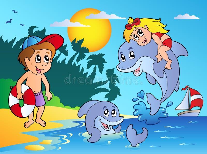 Het strand van de zomer met jonge geitjes en dolfijnen stock illustratie