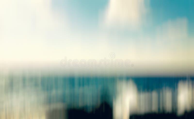 Het strand van het de zomerparadijs in Nahariya, Israël Het abstracte effect van het motieonduidelijke beeld royalty-vrije stock foto's