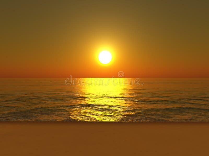 Het strand van de zonsondergang royalty-vrije illustratie