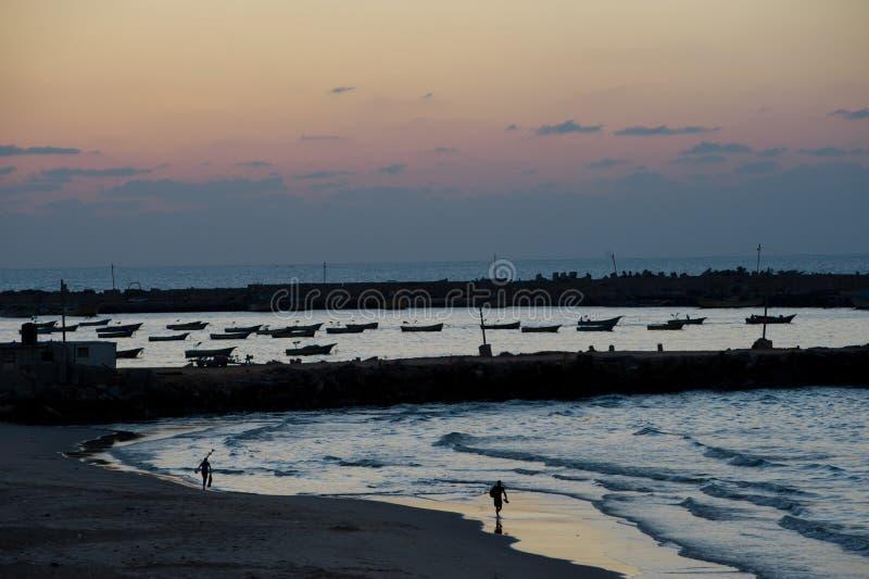 Het Strand van Gaza bij Schemer stock fotografie