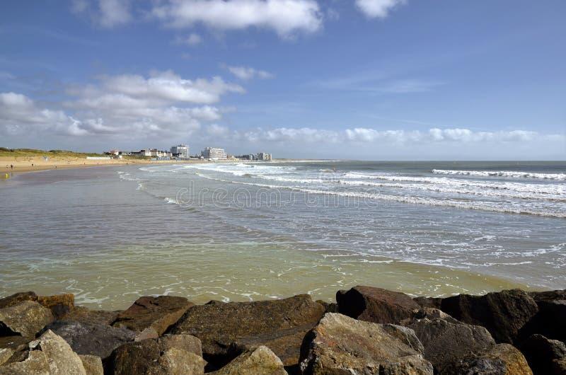Het strand van heilige-Gilles-Croix-DE-wedijvert in Frankrijk royalty-vrije stock fotografie