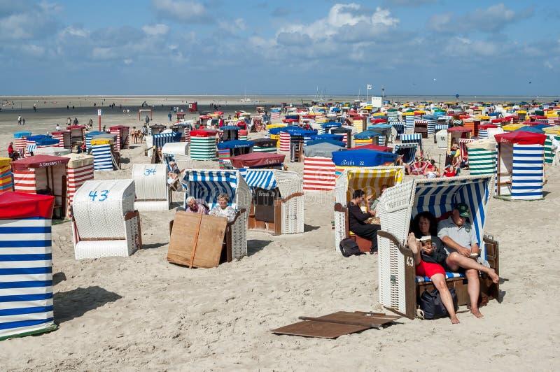 Het Strand van het Borkumnoorden, Duitsland royalty-vrije stock afbeeldingen