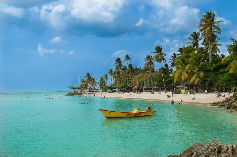 Het strand van het duifpunt in Tobago stock afbeelding