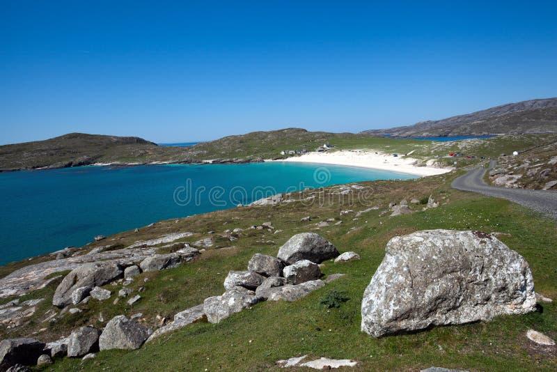 Het strand van Hushinish, Harris, BuitenHebrides, Schotland stock afbeelding