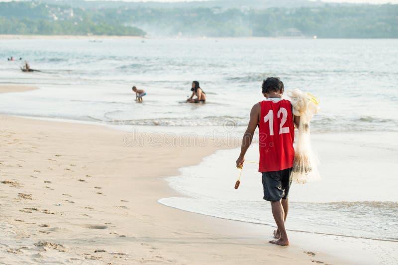 Het strand van Jimbaran in Bali, Indonesië royalty-vrije stock foto's