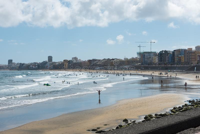 Het strand van Lascanteras, Las Palmas de Gran Canaria royalty-vrije stock afbeeldingen