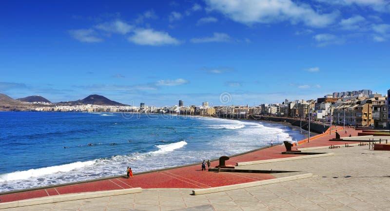 Het Strand van Lascanteras in Las Palmas, Gran Canaria, Spanje royalty-vrije stock foto's
