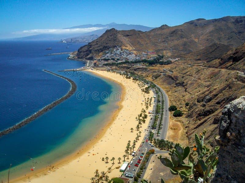 Het strand van Lasteresitas in de Canarische Eilanden van Tenerife stock foto's