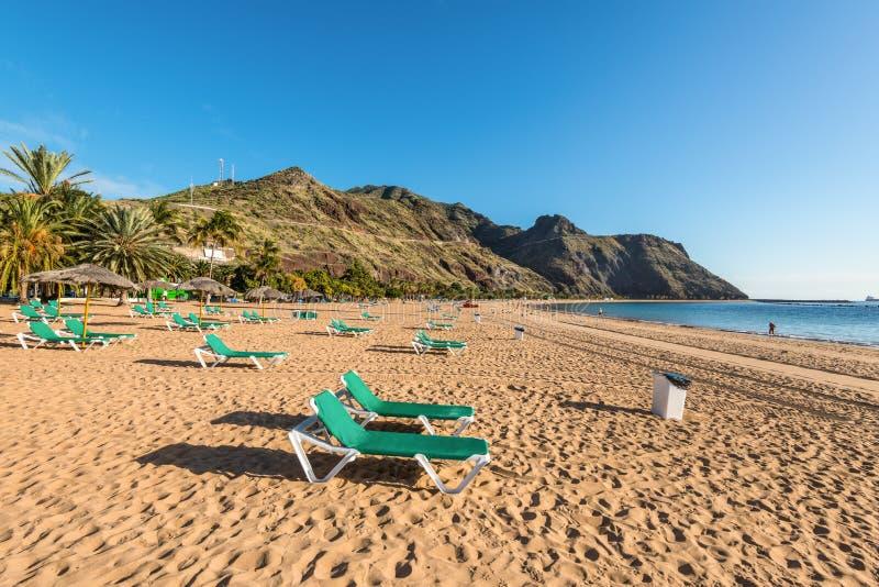 Het strand van Lasteresitas, Tenerife, Canarische Eilanden, Spanje royalty-vrije stock foto's