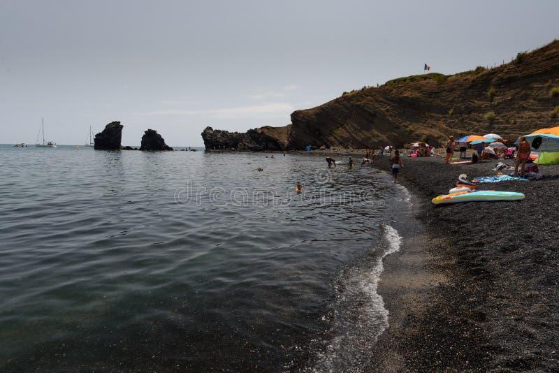 Het strand van le Grande Conque in Agde-Kaap, GLB D 'Agde stock afbeelding