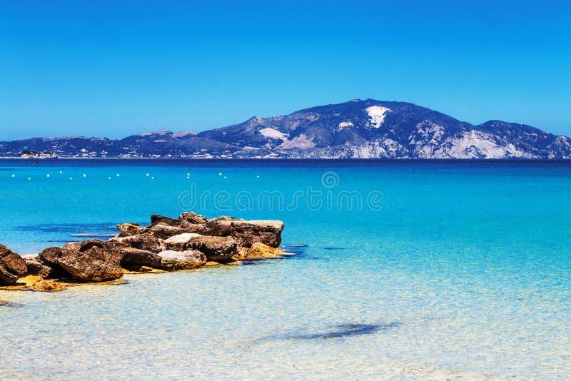 Het strand van Limnikeriou, het eiland van Zakynthos stock afbeelding