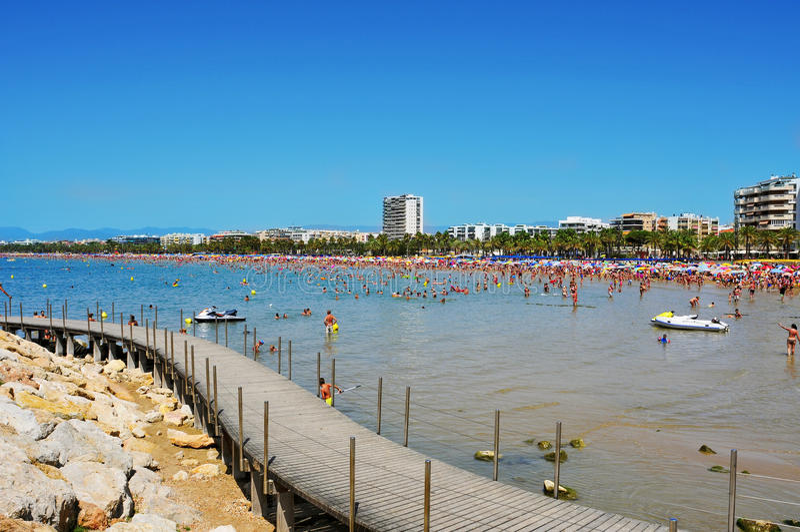 Het Strand van Llevant, in Salou, Spanje stock foto
