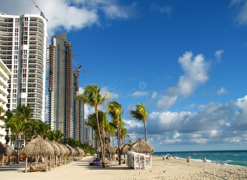 Het Strand van Miami in de winter stock foto