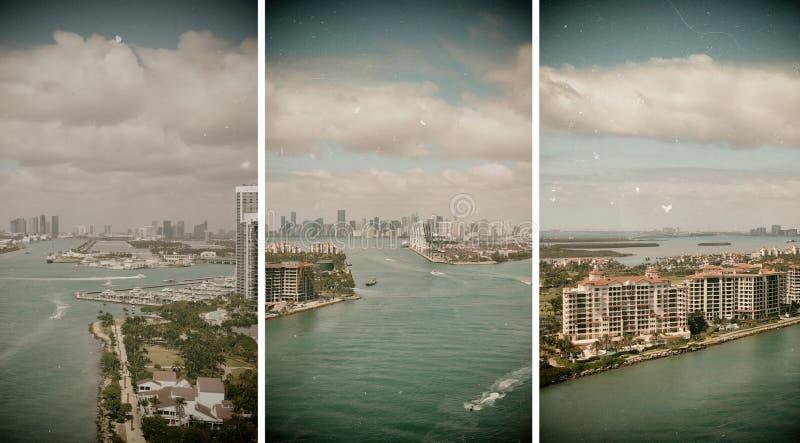 Het Strand van Miami en stadshorizon van Zuiden Pointe, luchtmening stock afbeeldingen