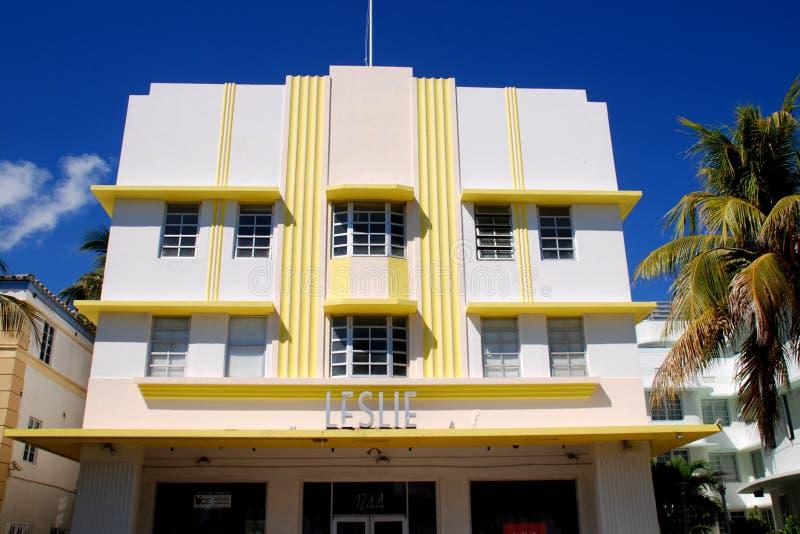 Het Strand van Miami, FL: Art deco Leslie Hotel stock foto