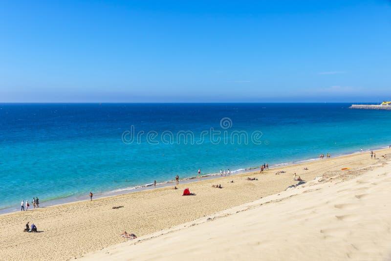 Het strand van Morrojable, Fuerteventura-eiland, Canarische Eilanden, Spanje stock foto's