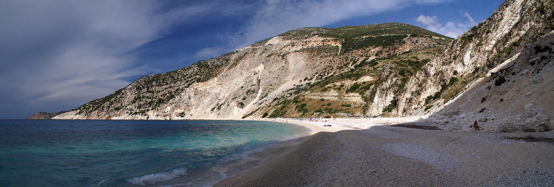 Het strand van Myrthos, Kephalonia royalty-vrije stock afbeeldingen