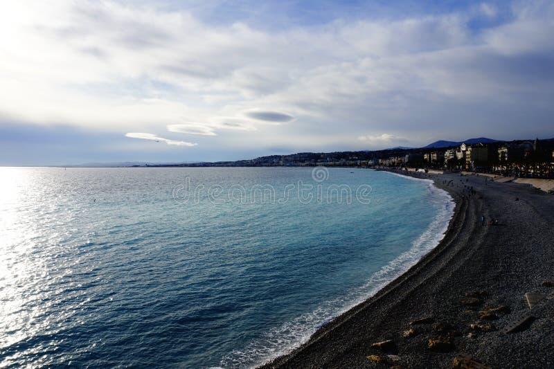 Het Strand van Nice, Frankrijk stock foto