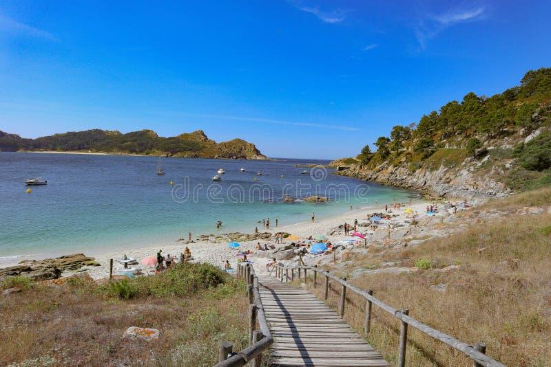Het Strand van Nossaseã±ora bij Cies-Eilanden stock afbeelding