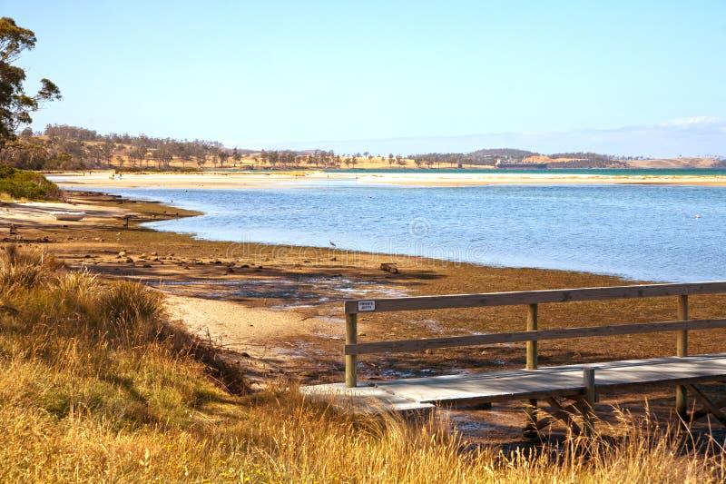 Het strand van Orford, Tasmanige stock afbeeldingen