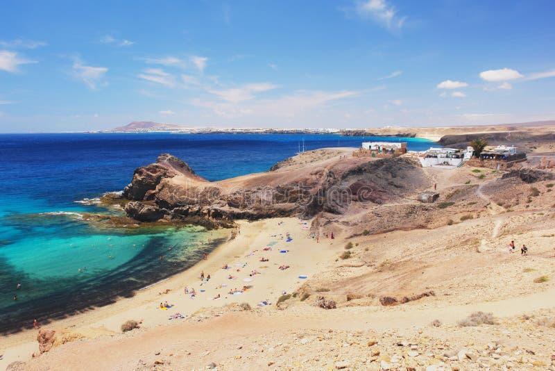 Het strand van Papagayo, Lanzarote stock afbeelding