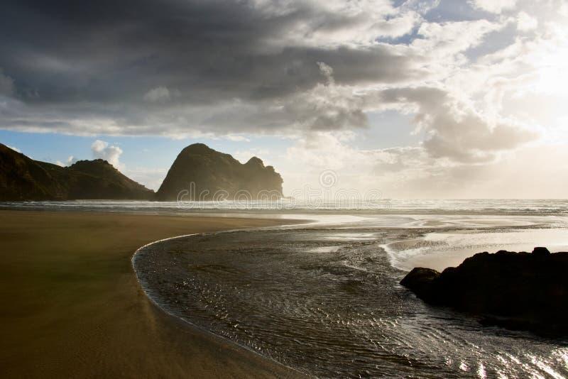 Het strand van Piha stock fotografie
