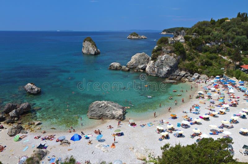 Het strand van Pisokryoneri in Parga, Griekenland royalty-vrije stock foto