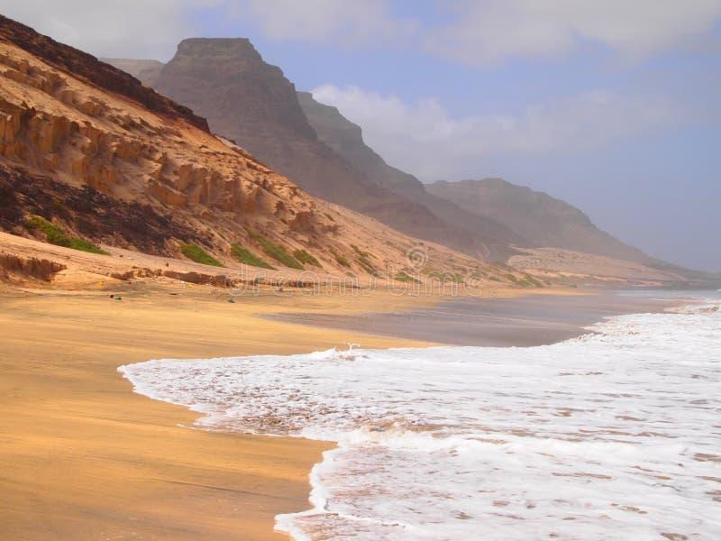 Het strand van Praiagrande in de kust van het eiland Kaapverdië van Saovicente royalty-vrije stock foto's